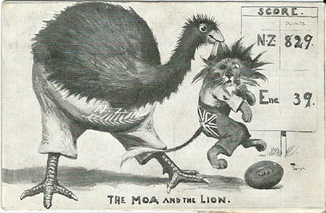 Trevor Lloyd postcard, The MOA and the Lion